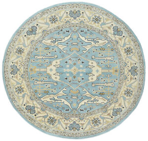 Oushak Rug, 8'x8' Round, Blue/Ivory, Hand-Knotted Wool Pile