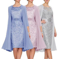 Mermaid Lace Formal Mother Of The Bride Dress Outfits With Jacket Knee Length