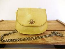 HOBO INTERNATIONAL Distressed Yellow Leather Mini Saddle Bag Coin Purse *AS IS*