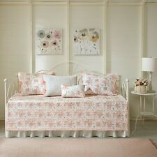 Beautiful Cotton Coral Floral Quilt Coverlet Daybed Cover Guest Room 6 pcs Set