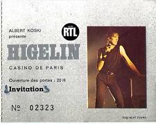 HIGELIN casino paris 1983 ticket invitation