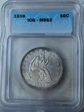 "1859 Liberty Seated Half Dollar ""ICG MS62"" *Free SH After 1st Item*"