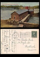 Vtg 1913 Postcard Holyoke Ma Motor Power Gate House Connecticut River Dam