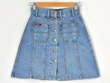 Cross Mini denim skirt 90s jean Vintage High waisted 38 25 in. Xs/S Button Up