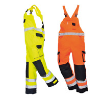 Portwest Dijon Hi Vis Bib & Brace Work Trousers Coverall Dungarees Twin-stitched