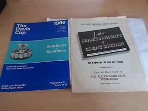 2 Vintage Tennis Programmes RFrom The 1960's - Junior Championship & Davis Cup