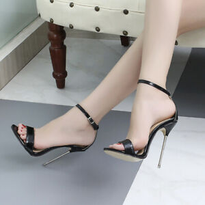 Metal HIGH HEEL BARELY THERE Patent Sandals Stiletto Heel Sexy Black Fetish