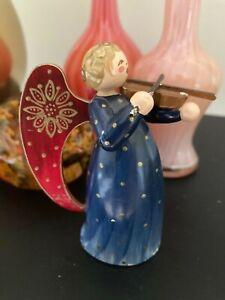 Vintage Rare Erzgebirge Germany Wendt & Kuhn Christmas Angel with Violin