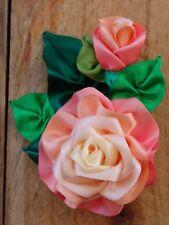 Satin Ribbon Rose Corsage Brooch/Pin - Handmade