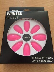 Awaken Pink Pointed Glossy False Nails