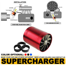 Supercharger Double Dual Turbonator Air Intake Fuel Saver Turbo Charger Fan Red