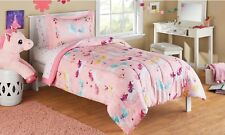 Unicorn Comforter Sham & Star Sheet Set Twin 5 pc Bed In A Bag Pink Reversible