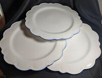 """Williams Sonoma AERIN 13 1/4"""" White Scalloped Dinner Plate Blue Rimmed Multiples"""