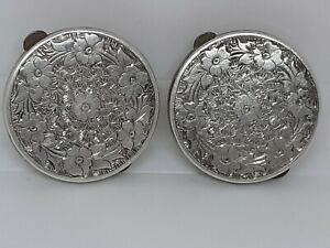 Pair Of Silver Art Deco Button Hole / Lapel Brooches