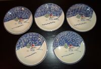 "(5) Thomson Pottery SNOWMAN 7 3/4"" Salad Plates  CHRISTMAS"