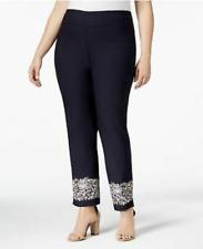 Charter Club Cambridge Slim Leg Pant Embroi Navy Blue Women's Plus Size 14W #6