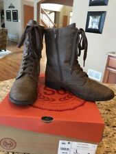 SO AUTHENTIC AMERICAN HERITAGE Woman Size 7 Combat Boots Lace Zip Boots Stone