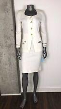 Toula Women's Size 6 Ivory Skirt Suit Wool Santana Knit Gold Buttons NWT $428