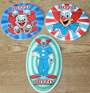 Lot of 3 BOZO The Clown WORLD FAMOUS STICKER JUST KEEP LAUGHING LARRY HARMON 2