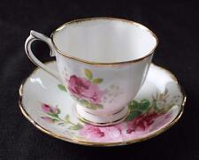 Vintage ROYAL ALBERT Bone China England AMERICAN BEAUTY Set Footed Cup & Saucer