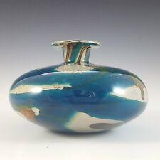 More details for signed mdina maltese blue & brown glass 'tiger' squat vase