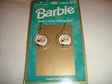 HALLMARK BARBIE EARRING-SET OF2-NEW ON CARD-SURGICAL STEEL WIRES---LOOK--