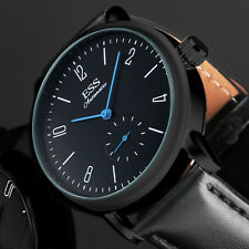 Montre ESS mécanique automatique Bracelet cuir noir homme bleu analogique sport