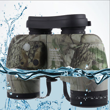 10X50 Marine Binocular Camo Waterproof Float Telescope with Compass Rangefinder