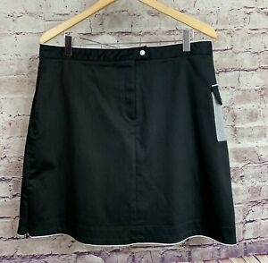 Astra Womans Black Golf White Trim Pockets Athletic Skort Size 14