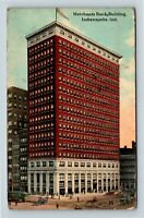 Indianapolis IN, Merchants Bank Building, Vintage Indiana c1914 Postcard