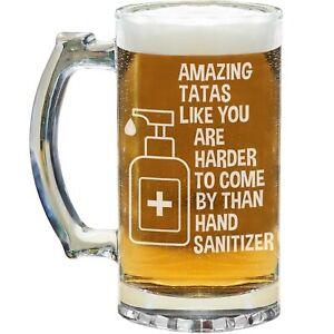 Tata Beer Mug Glass Stein Cup Funny Gift For Birthday Present Quarantine G-70K