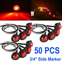 """50 Pcs 3/4"""" Red 3 LED Round Side Marker Indicator Lights Truck Trailer Lorry Bus"""