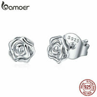BAMOER Solid S925 Sterling Silver Stud Earrings Rose Story For Women Jewelry