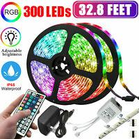 10M 32.8FT 300LED 5050 RGB SMD Strip Light Remote Controller Power 12V Full Kit