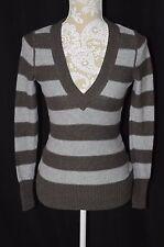 Kenji Womens Small Brown Gray Long Sleeve V-Neck Sweater Shirt Soft Warm Fall