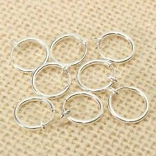 8PCS Punk Clip On Fake Nose Lip Rings Earrings Silver Body Piercing Jewelry 0V