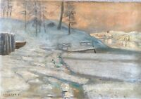 K.Holter? Winter Landscape - Winter Evening - 1906 Dated - Norway Norge ??