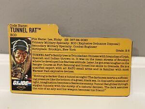 GI Joe 1988 Vintage TRU Night Force Exclusive Tunnel Rat File Card!