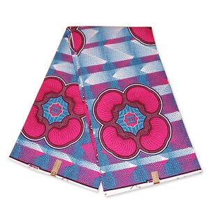 "African fabric PINK BLUE wax fabric ""SHAPES"" Ankara wax print cloth"