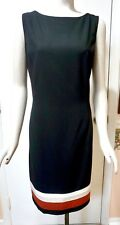 NWT White House Black Market Colorblock Hem Sheath Dress, Black/Cinnamon/Ecru 14