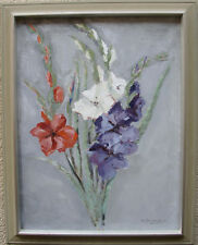 Harald Thelander 1908-1984 , Blumen vor grauem Grund, datiert 1957