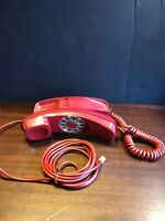 Vintage Red Bell System Western Electric table top Rotary Telephone rare