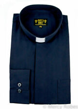 Mens Navy Blue Standard Cuff Tab Collar Clergy Shirt Long Sleeve Pastor Priest