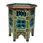 Vintage Moroccan Hexagon Painted Plant Stand Table