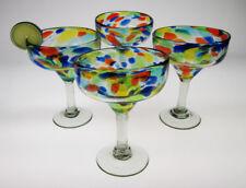 Mexican Margarita Glasses Confetti swirl, hand blown (set of 4)