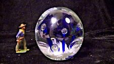 GLASS PAPERWEIGHT, Unusual Violet, White & Clear w. Flowers, Hand blown lot #108