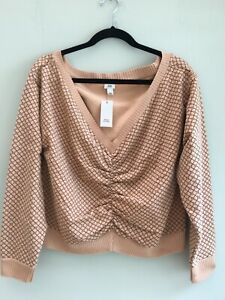 RIVER ISLAND TOP UK 16 GEO PRINT RUCHED TO FRONT LONG SLEEVE CARAMEL/MOCHA BNWT