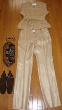 4K NEW CHANEL JACKET TOP PANTS SCARF THREE PIECES NUDE GOLD SET 40 US 8