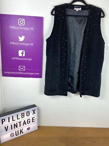 Vintage Size 14 Black Velvet Beaded Open Front Waistcoat Gothic Glam Rock