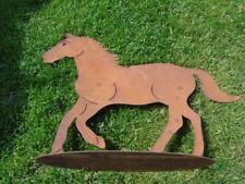 cheval en fer forgé rouillé sur plaque grand modèle , nouveau !
